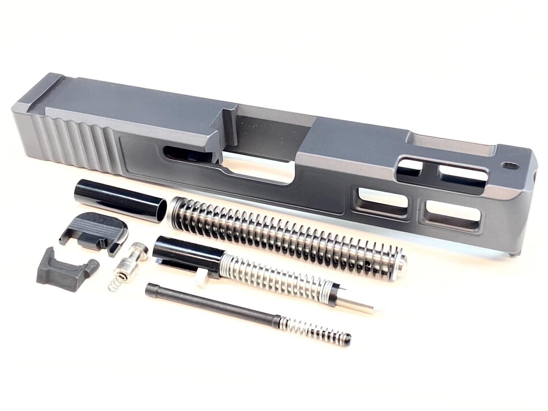 Glock 23 40 S&W .40 Cal Gen 3 Patriot Sniper Gray Ported Window Slide & Slide Upper Build kit With Stainless Steel Guide Rod