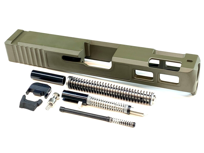 Glock 19 Gen 3 Patriot OD Green Ported Window Slide & Slide Upper Build kit With Stainless Steel Guide Rod