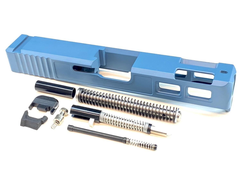 Glock 19 Gen 3 Patriot Jesse James Blue  Ported Window Slide & Slide Upper Build kit With Stainless Steel Guide Rod