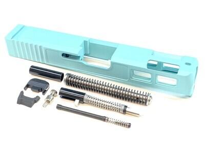 Glock 23 40 S&W .40 Cal Gen 3 Tiffany Blue  Ported Window Slide & Slide Upper Build kit With Stainless Steel Guide Rod