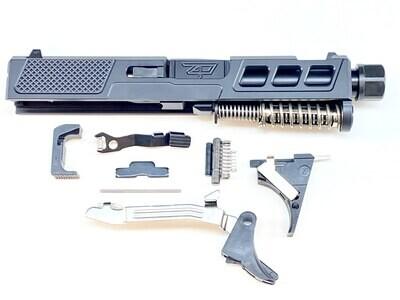 G43 Zaffiri Precision Black Ported Cut Slide Built Stainless Steel Slide - OEM Sights - Black Barrel