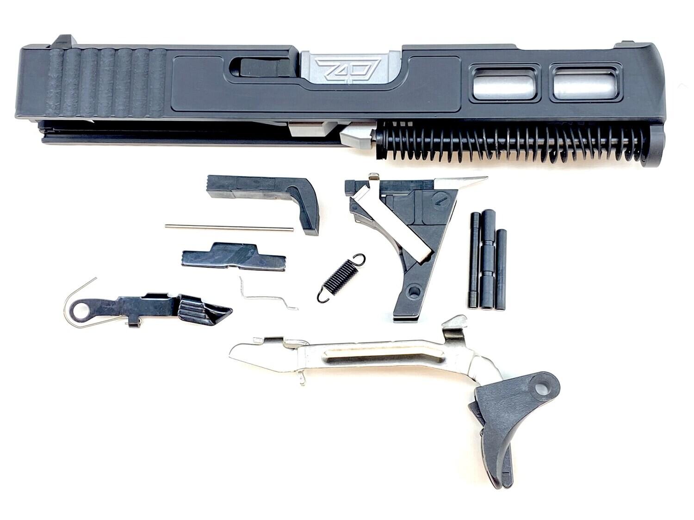 Glock 19 Gen 3 Patriot Black Built Ported Windowed Slide With Stainless Steel  Ported Barrel