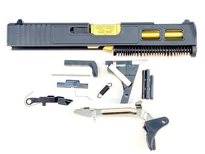 Glock 19 Gen 3 Patriot Tin Built Ported Windowed Slide With Stainless Steel Tin Gold Ported Barrel
