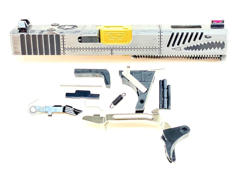 Glock 19 P40 Warhawk Battleworn Gray & Black - Tin Gold Barrel - Lower Parts Kit