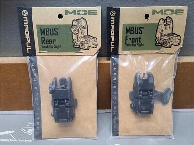 Magpul Industries, MBUS Back Front Flip Up Sights Gen 2, Fits Picatinny Rails, Flip Up, Black Finish