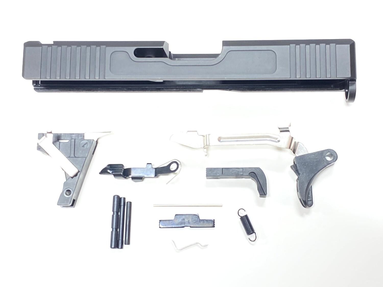 Glock 19 Slide w/ Front & Rear Serrations - Recessed Windows - Black - Lower Parts Kit