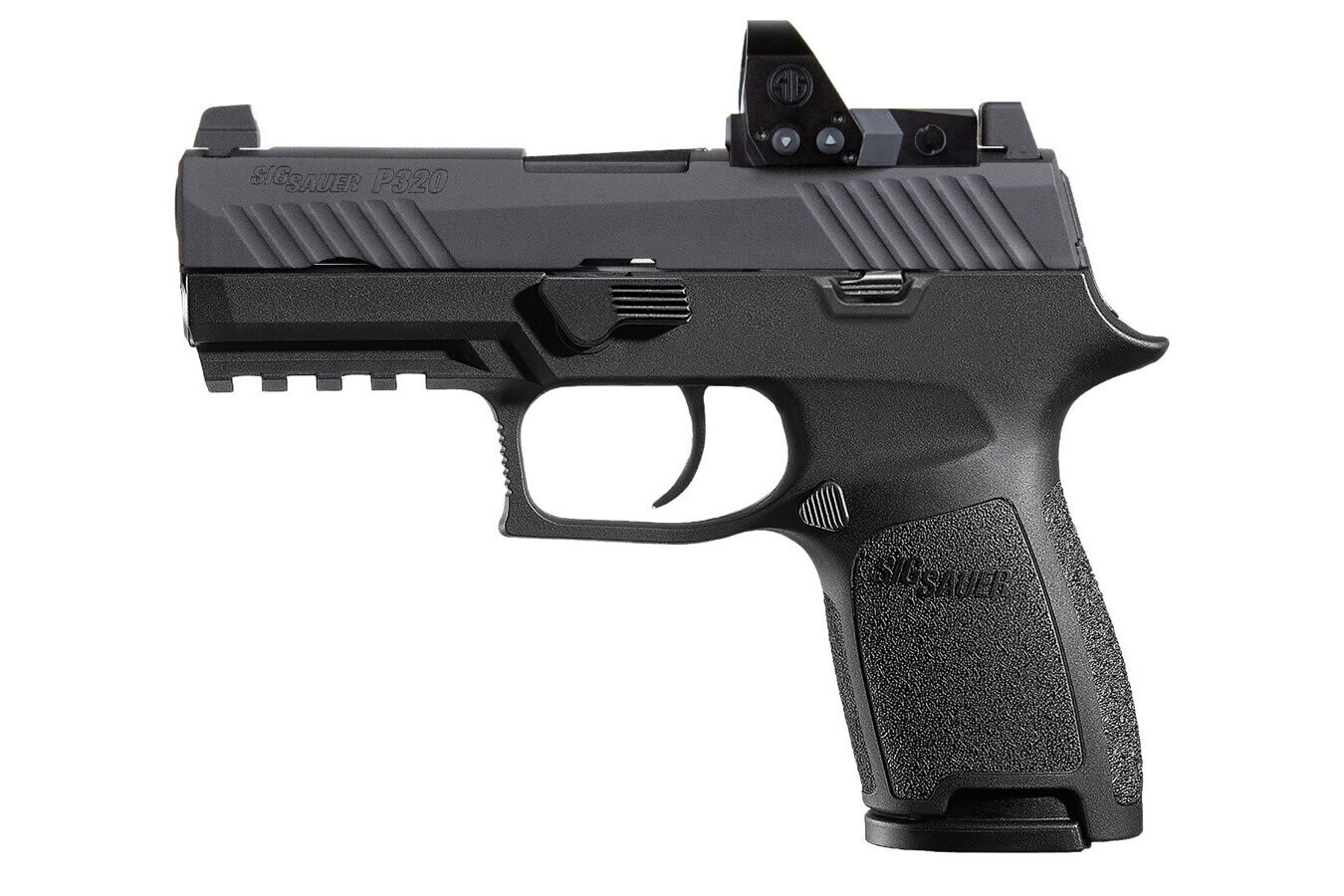 80% Sig Sauer P320 RXP Compact 9mm Striker-Fired Pistol with ROMEO1 Pro Red Dot Optic (10-Round Model) - Comes With P320 80% Insert MUP 1 - Pistol Case