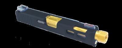 New Patriot G19 Ported Windowed Built Slide - Gold Threaded Barrel - Pick Your Slide Color