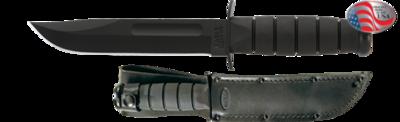 Fighter KA-BAR Black - Black Leather/Cordura Sheath -  Serrated Edge