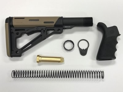 AR-15 Hogue Stock Kit & Black Hogue Grip - FDE