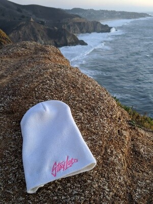 LIMITED StayLoco Tall White Beanie w/ Pink Font