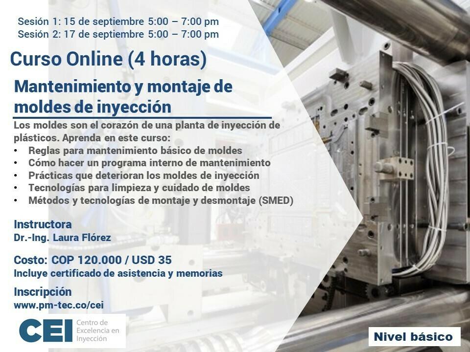 Inscripción al curso online: Mantenimiento y montaje de moldes de inyección (15 y 17 de Septiembre)