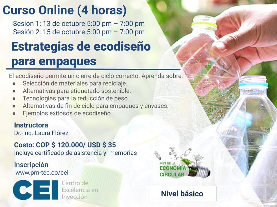 Inscripción al curso online: Estrategias de ecodiseño para empaques (13 y 15 de octubre)