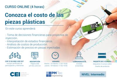 Inscripción al curso online: Conozca el costo de las piezas plásticas (16 y 18 de febrero)