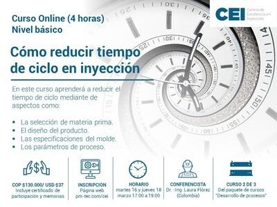Inscripción al curso online: Cómo reducir tiempo de ciclo en inyección. (16 y 18 de marzo)