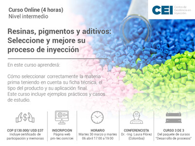 Inscripción al curso online: Resinas , pigmentos y aditivos:Seleccionar y mejorar su proceso de inyección. (30 marzo y 6 de abril)