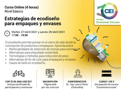 Inscripción al curso online: Estrategias de ecodiseño para empaques y envases. (27 y 29 de abril)