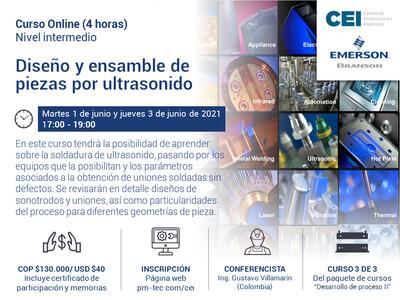Inscripción al curso online: Diseño y ensamble de piezas por ultrasonido. ( 1 y 3 de junio)