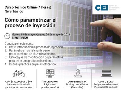 Inscripción al curso online: Cómo parametrizar el proceso de inyección. (18 y 20 de mayo)