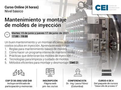 Inscripción al curso online: Mantenimiento y montaje de moldes de inyección. ( 15 y 17 de junio)