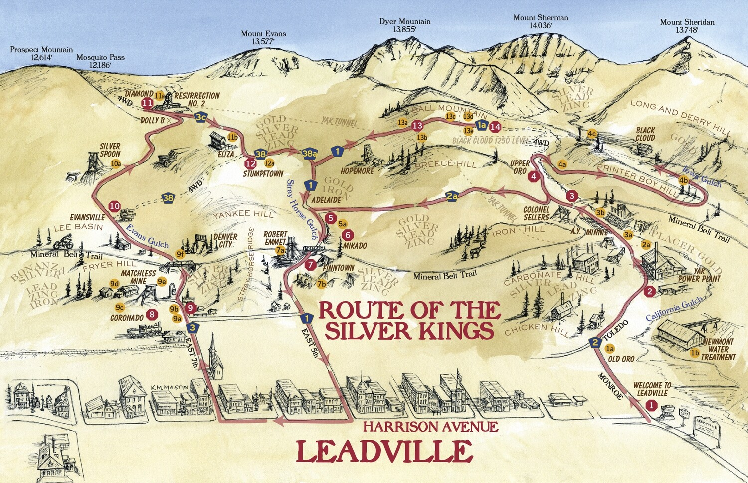 Leadville Route of the Silver Kings Map