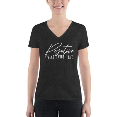 Positive Mind Vibe Life - Junior's Fashion Deep V-neck Tee