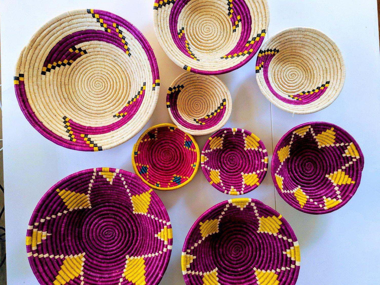 African Handwoven Basket | Wall Decor | Fruit Basket | Jewelery Holder
