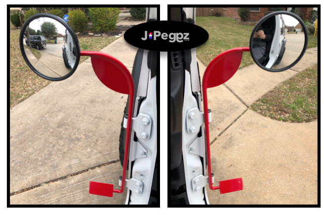 JPeggz | Mirrors With Foot Pegs | Per Pair | COLORS