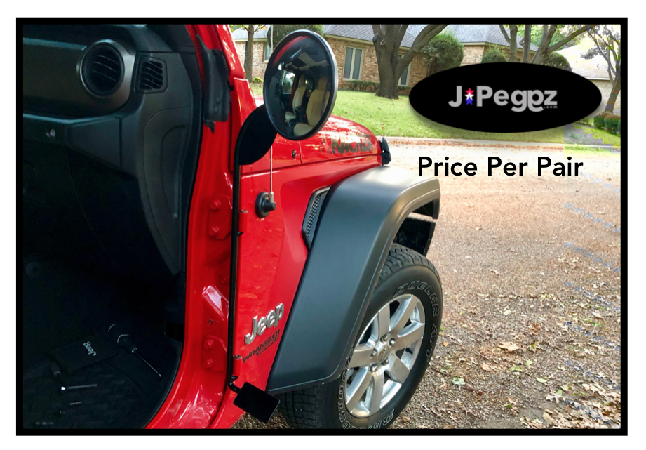 JPeggz | Mirrors With Foot Pegs | Per Pair | GLOSS BLACK