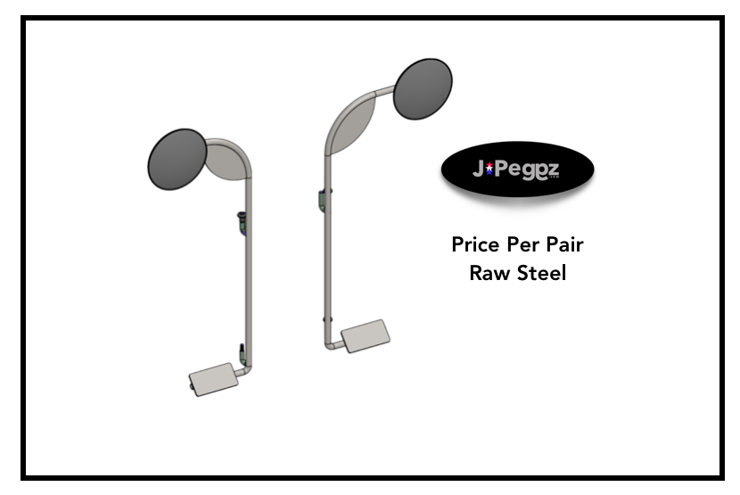 JPeggz | Mirrors With Foot Pegs | Per Pair | RAW STEEL