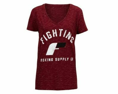Fighting Brand Women's Distressed V-Neck Tee