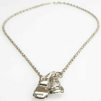 TITLE Boxing Silver Gloves Necklace