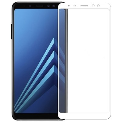 TEMPERED GLASS SCREEN PROTECTOR 5D SAMSUNG GALAXY A8 (2018) A530 WHITE