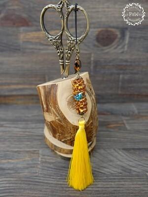 """Желтый маячок с плетеной бусиной """"Фарфалле"""" 00427"""