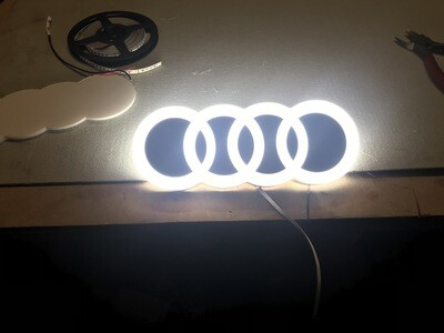 12v or 24v Illuminated Audi Logo