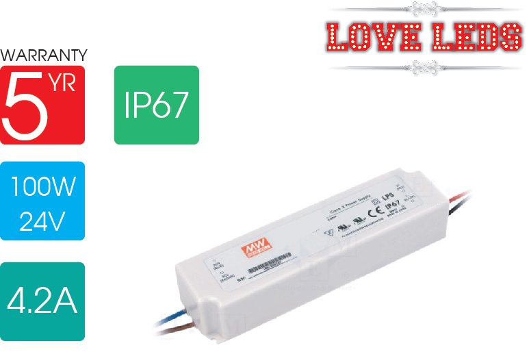 Meanwell LPV-100-24 100w 24v IP67