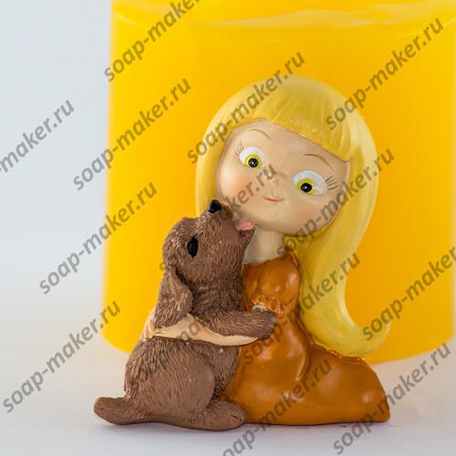 Девочка с щенком 3D