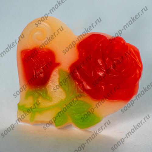 Две розы в сердце 2D
