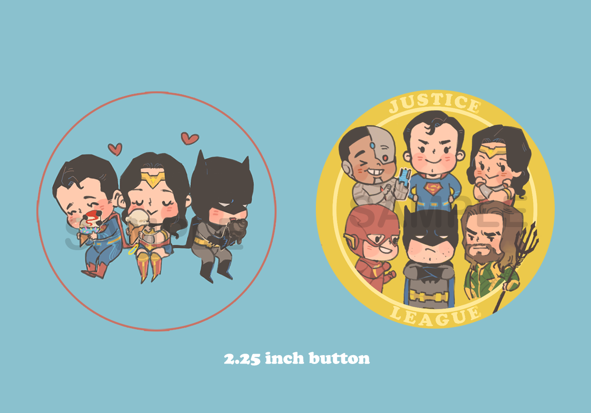 DC Justice League buttons
