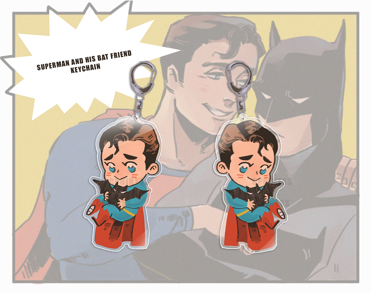 Superman and little Bat Charm