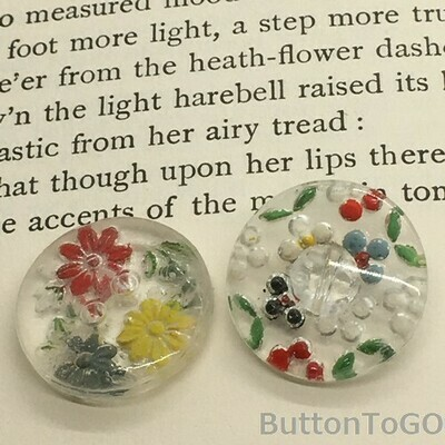 2 glass buttons, painted back