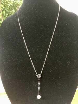Plain Necklace, with clear drop beads