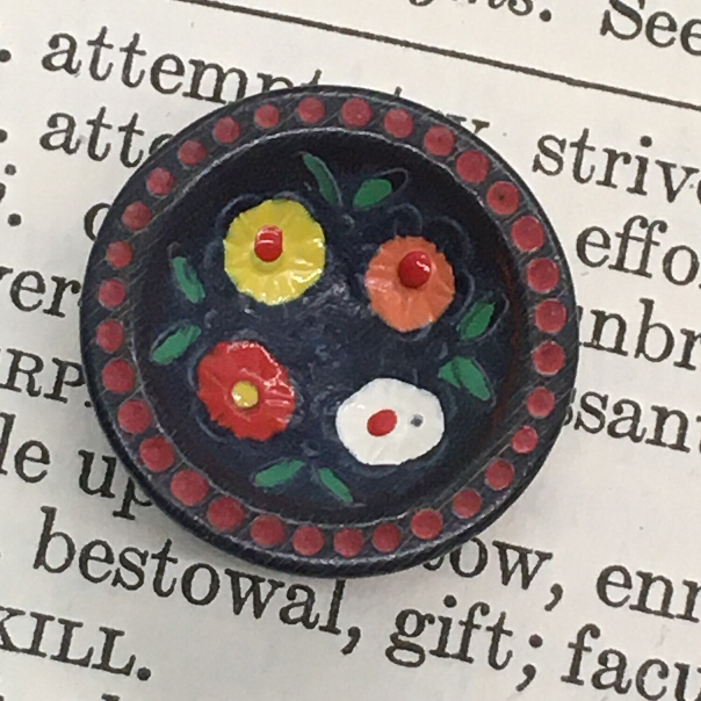 Wood, painted flowers