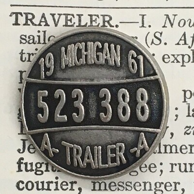 Michigan License Plate, Vintage 1961 Trailer