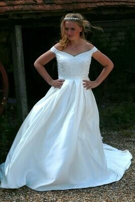Dionne  - Beaded Satin Wedding Dress