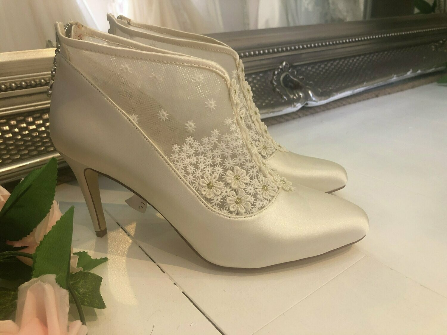 Ivory Satin & Lace Wedding Ankle Boots| Style Hattie | Size 39