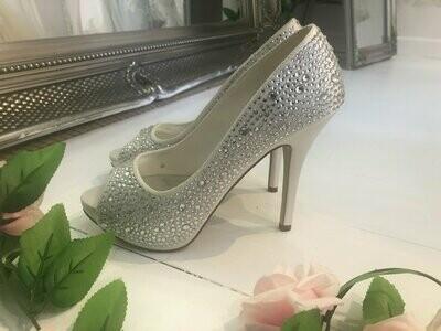 Ivory Satin & Crystal Wedding Shoes | Style Sarah| Size 38
