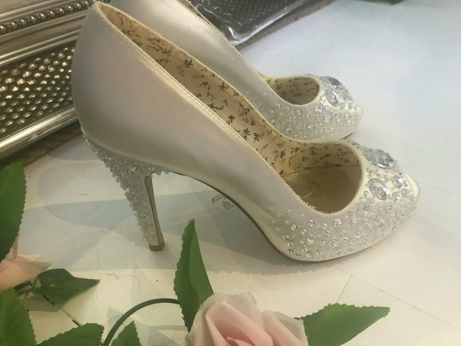 Ivory Satin & Crystal Wedding Shoes | Style Roxy | Size 40