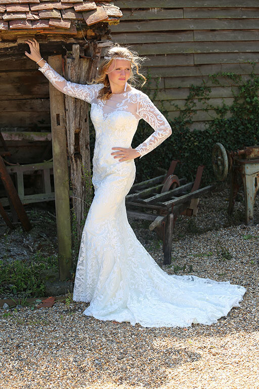 Fit & Flare Lace Wedding Dress with Sleeves | Bridal Gown Style Estelle