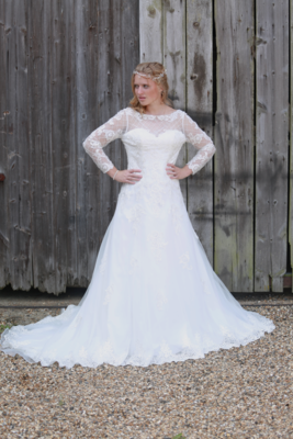 Princess Cut Lace Wedding Dress with Sleeves   Bridal Gown Style Oceanna
